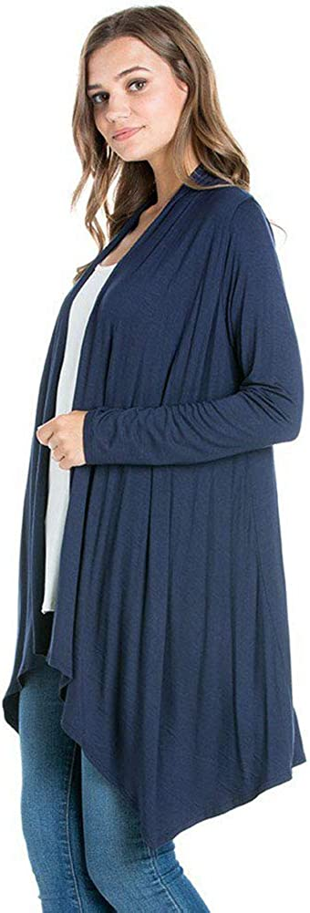 12 Ami Cascading Long Sleeve Rayon Loose Casual Open Drape Cardigan - Made in USA