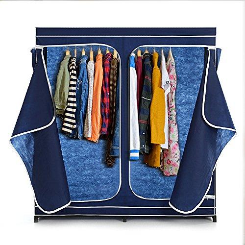 IKAYAA Doppia Armadio Abbigliamento Classic Zippato Tessuto Grande Deposito Organizer Abbigliamento Hanger Rack