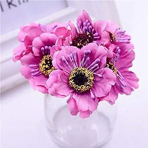 SPRK 6pcs 3.5cm Mini Silk Cherry Artificial Poppy Bouquet Handmade Tattoo Wreath Scrapbook Wedding Decoration Craft Fake Flower
