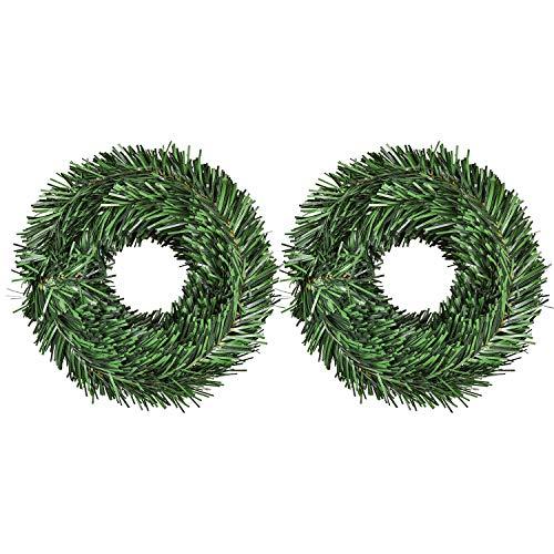 YQing 2 Piezas Decoraciones de Navidad Guirnalda, Navidad Pino Abeto Guirnalda Artificial Guirnalda Larga Verde Guirnalda Llana Festiva para chimeneas, Escalera, decoración de árbol de Navidad