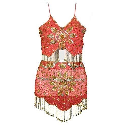 indischerbasar.de Set costume danza del ventre rosso e oro con applicate medagliette e paillettes accessori abbigliamento