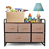 TUSY Dresser Drawer with 5 Drawers Storage Tower Unit, Dresser for Bedroom Closet Office, Hallway, Steel Frame Wood Top, Easy Pull Fabric Bins