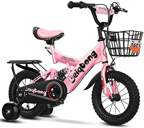 HCMNME Bicicleta Duradera Bicicletas for niños con Ruedas de Entrenamiento, Muchachas de los Muchachos del Estilo Libre de la Bicicleta de 2-12 años de Edad con Asiento de atrás y de Canasta,