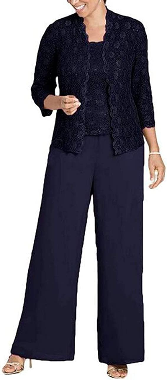 3 PC Lace Mother of The Bride Pants Suits with Jacket Chiffon Women Outfits Wedding Pants Sets