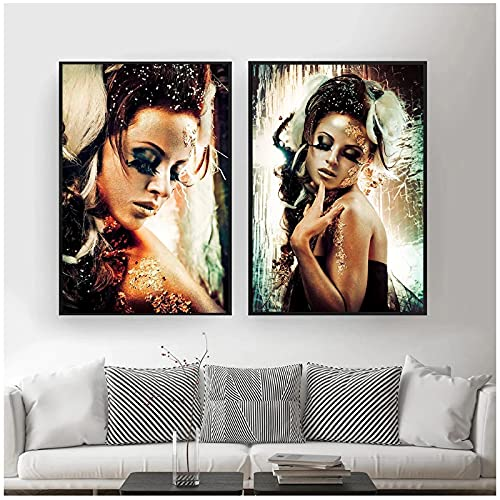 Arte africano Mujer negra y dorada Pintura al óleo sobre lienzo Carteles e impresiones Imagen de arte de pared para sala de estar-20x28 inchX2pcs Sin marco