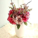 YYHMKB Flores Artificiales Hortensias Blancas Flores de Seda de Tallo Largo de Alta Simulación Arreglos de Ramo de Rosas Artificiales Rosa Borgoña
