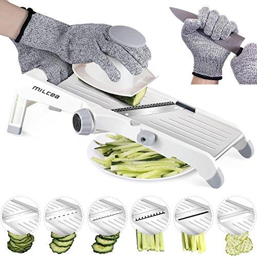 MILcea 01, 3-in-1 Edelstahl Mandoline Verstellbar Küchenschneider Schneider Schneider für Obst und Gemüse von PaperThin bis 9 mm, Kunststoff, weiß