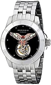 Android Men's AD811ARS Bald Eagle Tourbillon Analog Display Automatic Self Wind Silver Watch