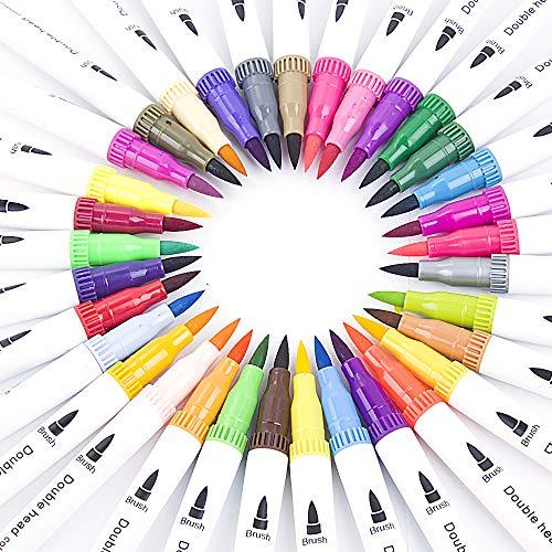HaavPoois Kleur Tweekoppige Aquarel Pen Schilderij Water Pen Tweekoppige Markeerstift Kind Volwassen Schilderij Briefpapier Kunst Aquarel Pen (24 Kleuren)