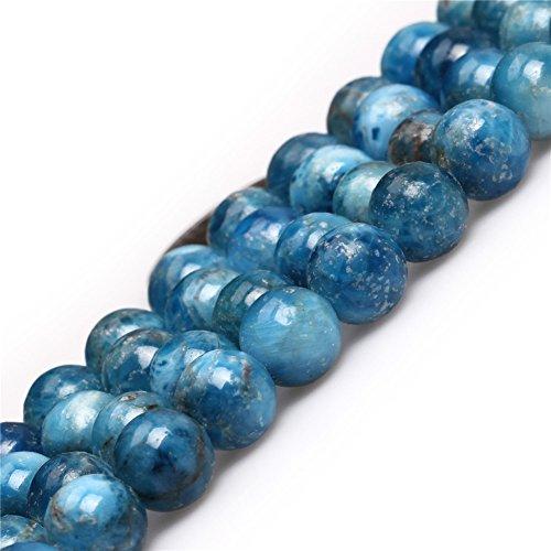 SHGbeads Perles rondes naturelles en quartz avec apatite bleue 8 mm pour fabrication de bijoux 38,1 cm
