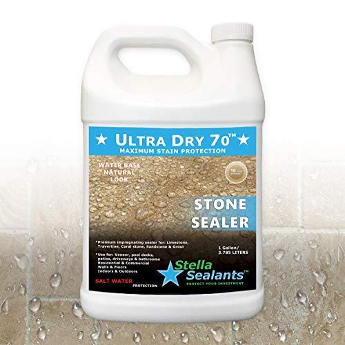 Ultra Dry 70 - Stone Sealer for Travertine Limestone Marble and Granite - Natural Look (Gallon)