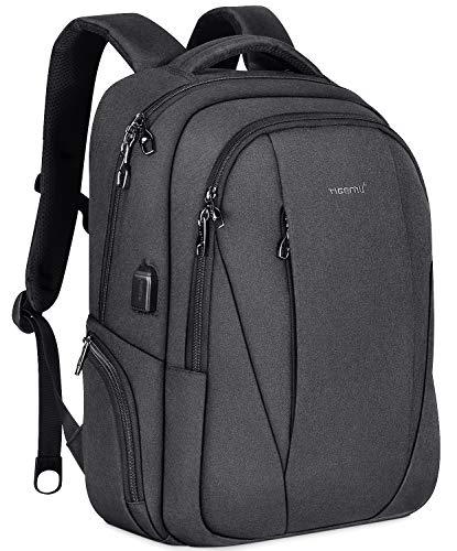 Tigernu Travel Laptop Backpack Business Slim Anti-theft Backpacks with USB Charging Port Water Resistant College School Computer Bag for Men Women Fit Under 15.6 inch Notebook/Macbook,Black