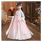 YUNGYE Vestido de verano de estilo chino Tang para niña, súper hada, estilo diario, falda elegante, disfraz de princesa Hanfu (color: estilo E, tamaño: 150 cm)