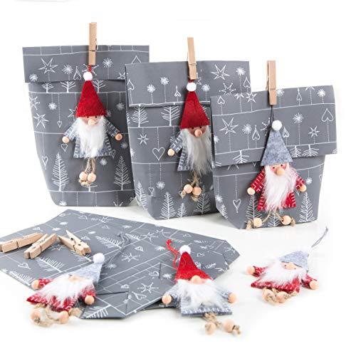 Logbuch-Verlag 6 Wichtelgeschenk Verpackungen grau weiß mit Wichtel Anhänger aus Filz - Wichteltüte Nikolaustüte Weihnachten