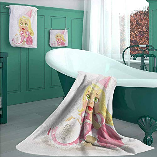 Zodiac Virgo 3 Pieces Towel Set, Cute Princess Baby with Pink Clothes Yellow Hair and Green Eyes Girls Kids, Camping Towel, Gym Towel, Pool Towels, on Beach Cart & Beach Chairs Multicolor