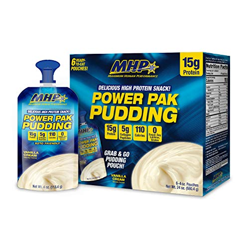 MHP Power Pak Vanilla Pudding Pouches 6 Pack, 15g Protein, 5g Collagen, Sugar Free, 100 Calorie, Low Carb, Protein Pudding Snack, Keto Friendly, Lactose Free, Soy Free, Gluten Free, Rich & Creamy