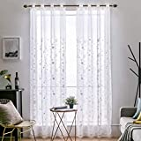 MIULEE 2 Panels Embroidered Sheer Window Flower Design Grommet Curtains Window Voile Panels/Drape/Treatment for Bedroom Living Room Flower 55' Wx88 L