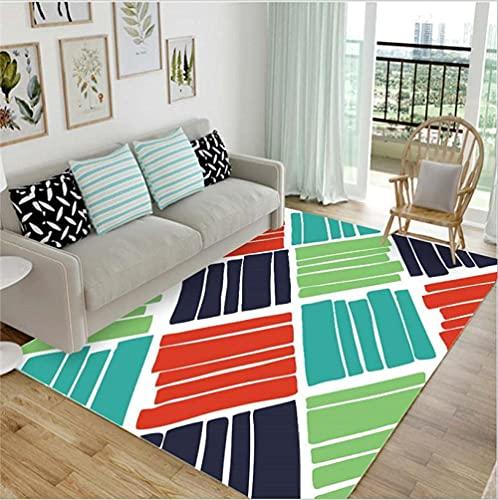 GONGFF Alfombras de área para sala de estar, alfombra moderna, decoración del hogar, antideslizante, rojo, azul oscuro, verde, líneas abstractas, 60 x 110 cm