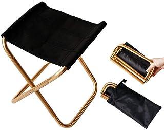 Mini taburete plegable portátil dorado con bolsa, de aluminio, compacto y ultraligero, plegable, con una bolsa de transporte para jardín, playa, pesca, senderismo, camping, pícnic, viajes