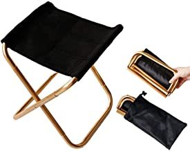 Gold Mini Portable Folding Chair Stool with Pouch, Aluminum Compact Ultralight Folding Stool Seat with a Carry Bag for Garden, Beach, Fishing, Hiking, Camping, Picnic Travel