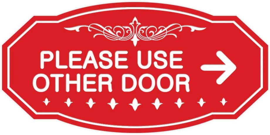 Signs ByLITA Victorian Please Use Other Door Right Arrow Sign Medium Brushed Gold