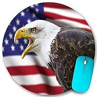 KAPANOU ラウンドマウスパッド カスタムマウスパッド、アメリカの国旗の装飾、フォアグラウンドバナーのイーグルプライドの歴史連帯武道のアイデンティティシンボル、PC ノートパソコン オフィス用 円形 デスクマット 、ズされたゲーミングマウスパッド 滑り止め