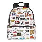 Logos musicales - Mochila para hombre y niña, mochila de viaje, mochila multifuncional, impresión en D, resistente al agua, resistente al agua, bolsa de almuerzo