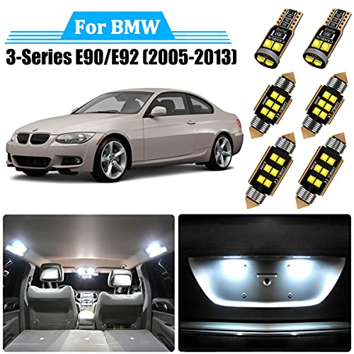 22 Piece LED Interior Light Kit for BMW 3 Series E90 Sedan E92 Coupe 2005 2006 2007 2008 2009 2010 2011 2012 2013 Interior LED Lights Bulbs Package + License Plate Lights all models and Install Tool