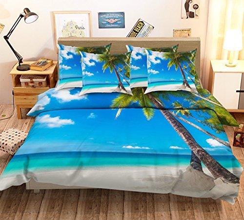 3d Bleu ciel Coco de mer 313 Parure de lit Taie d'oreiller Parure de lit avec housse de couette simple Queen King | 3d Photo Parure de lit, AJ papier peint britannique Sept
