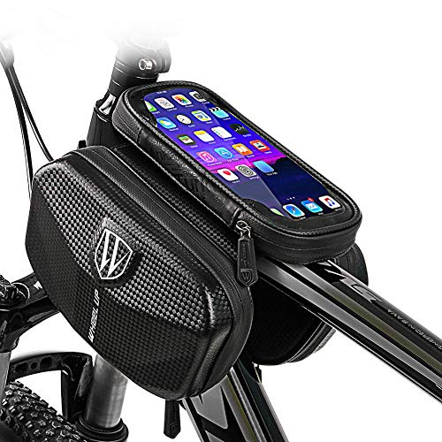 ZYBC Bicycle Frame Bag Waterproof with TPU Touchscreen Bicycle Top Bag with Headphone Hole for 6 Inch Mobile Phones GPS Sat NAV Bicycle Handlebar Bag for MTB Road Edge