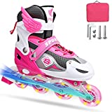 Adjustable Inline Skates for Girls Boys Kids Beginners, Roller Blades with Full Light Up Wheels, Blades Roller Skates for Indoor Outdoor, for Good Balance and Coordination(Pink, Medium)