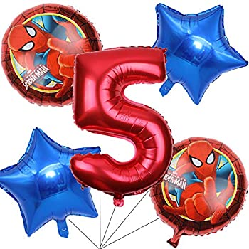 BCD-PRO Superhero Spiderman Balloons Bouquet 5th Birthday 5 pcs - Party Supplies - Ribbons included
