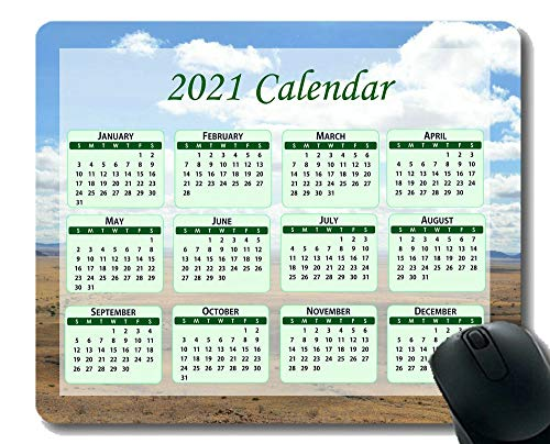 Calendar 2021,Seasons of Different Colo Mouse Pad,Sky Blue Clouds White Cumulus Clouds Mouse Pad with Stitched Edge