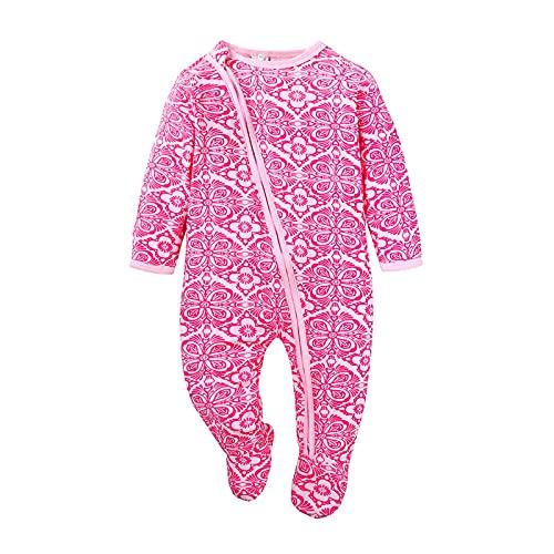 Bebé recién nacido niña niño llano cremallera mameluco manga larga impresión gráfica mono otoño invierno ropa trajes, A-rosa, 9 mes
