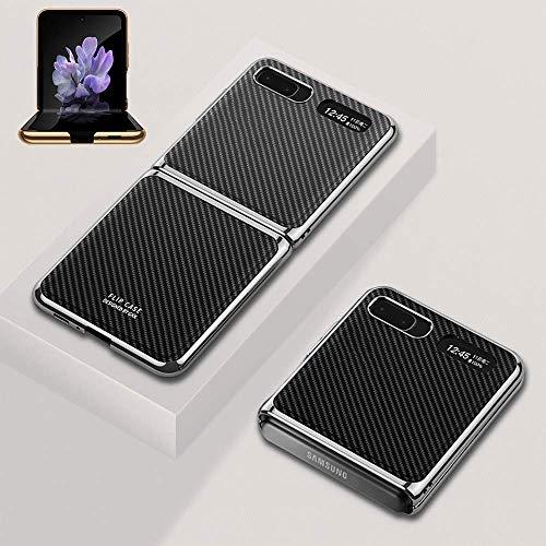 SHIEID Ledertasche für Samsung Galaxy Z Flip 5G Hülle mit [Stoßfest]+[Sturzsicher] Schutzhülle, Klappbildschirm Echtes Leder Handyhülle für Samsung Galaxy Z Flip 5G-Kohlefaser