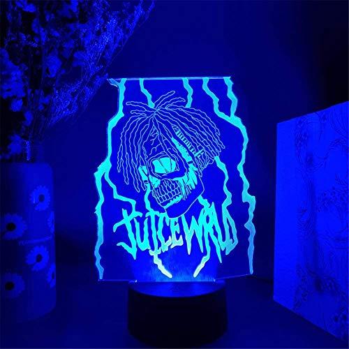 3D Juice WRLD RIP Hip Hop 3D noche luz Arylic cristal RGB cambiable LED estado de ánimo lámpara para cumpleaños vacaciones un regalo
