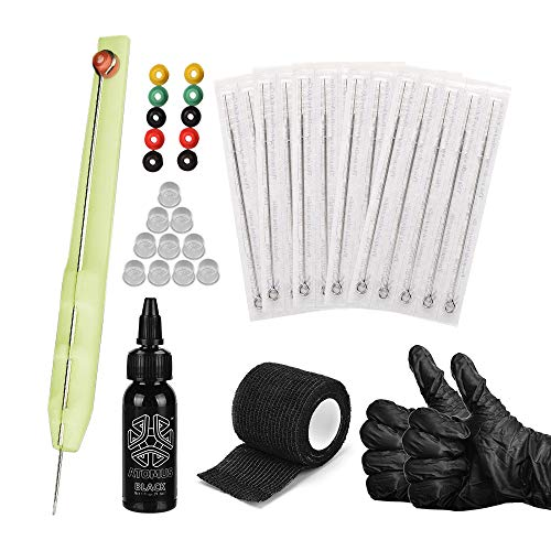 Anself Hand Poke and Stick Tattoo Kit DIY Tattoo Supply Ink Gloves and Ink Box Tattoo Needles Set Clean & Safe Stick & Poke Tattoos Includes 1RL/3RL/5RL/7RL/9RL