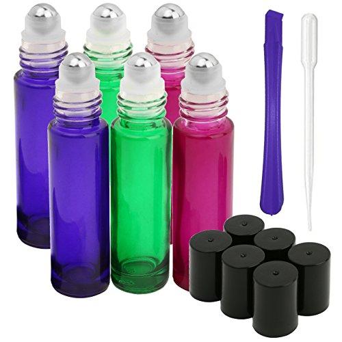 JamHooDirect Lot de 6 flacons-roller en verre de 10ml avec bille roulante en acier inoxydable pour huile essentielle, rechargeables avec ouverture du couvercle et 1 pipette de transfert