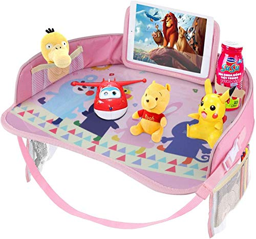 PANXIA Idepet Kids Travel Tray Baby Car Snack Play Trays with Dry Erase Top and Big Mesh Pockets