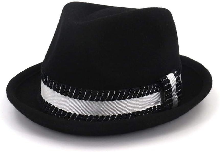 ZLQQLZ Women Cap Men Women Wool Fedora Hat with Black Belt Elegant Lady Hat Jazz Hat Panama Hat Pop Adult Hat Hat (Color : Black, Size : 56-58)