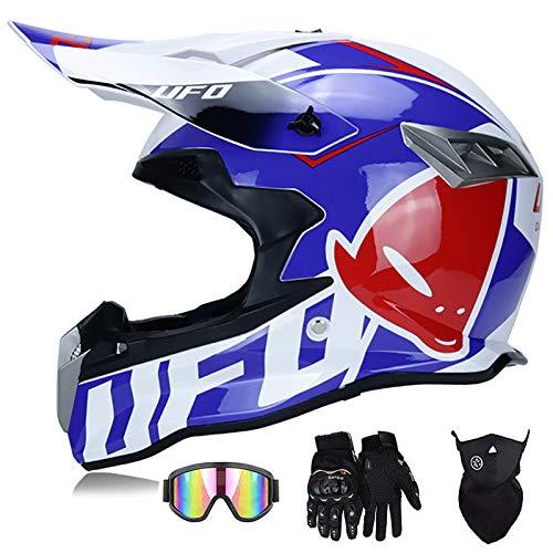 Super-ZS Casco De Moto, con Gafas + Guantes + Máscara Casco Profesional De Motocicleta De Rally Azul UFO Conjunto De Casco Ligero Desmontable para Adultos