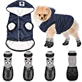 Weewooday Hooded Dog Coat and Dog Cat Boots Shoes Socks Stylish Puppy Clothes Warm Dog Jacket Waterproof Dog Shoes for Small Puppy (Navy Blue,S)
