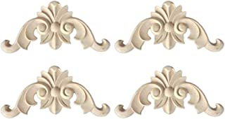 ULTNICE 4pcs Wood Carved Onlay Applique Center Flower Long Applique for Door Cabinet Bed Furniture Unpainted Decor