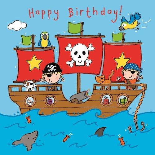 Twizler Geburtstagskarte für Jungen mit Piraten, Boot, Papagei und Swarovski-Kristall-Oberfläche,Kindergeburtstag [evtl. nicht in deutscher Sprache]