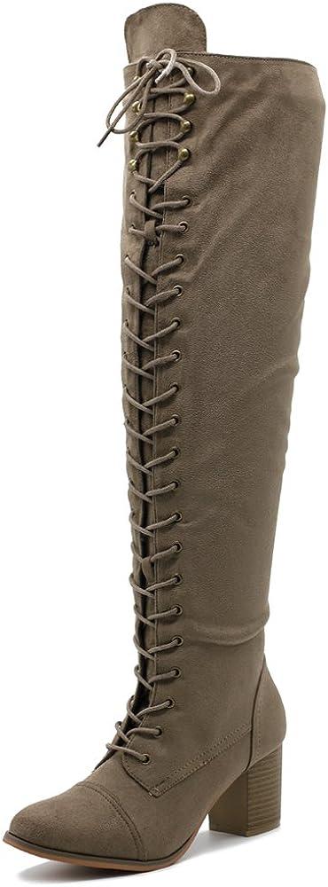 Ollio Women Shoe Lace-up Faux Suede Knee High Heel Zip Up Long Boots