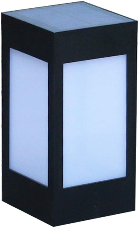 Auenbeleuchtung Gartenlicht Im Freien Sonnensulenkopflicht Super Helles LED-Hauptauenlicht Wasserdichtes Torlicht (Farbe   schwarz, Größe   21  10.5  10.5cm)