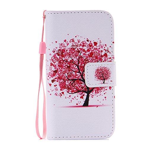ISAKEN Kompatibel mit Galaxy S5 Mini Hülle, PU Leder Flip Cover Brieftasche Geldbörse Handyhülle Tasche Case Schutzhülle mit Handschlaufe Standfunktion für Samsung Galaxy S5 Mini - Baum Herz
