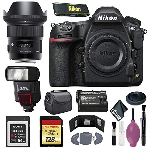 Best Price Nikon D850 DSLR Camera (Body Only) (International Model) - 128GB - Case - EN-EL15 Battery...