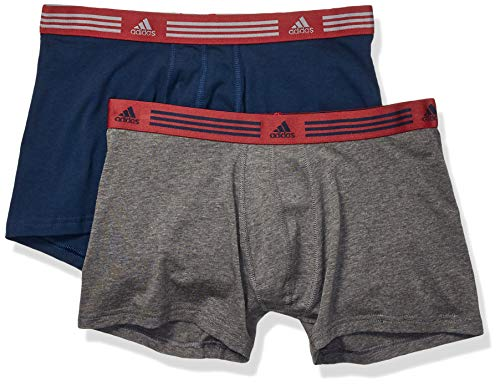adidas Herren-Unterhose aus Stretchmaterial, 2er-Pack, Marineblau / Noble Maroon Heather / Dunkelgrau, Größe XL