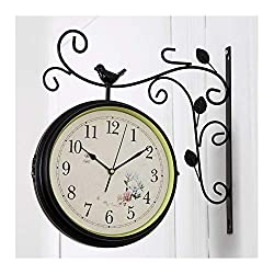 Fashion Double Sided Wall Clocks European Rustic Flower Bird Indoor On Bracket Wrought Iron Scroll 360 Degree Rotation Living Room Dining Rooms Quartz Clock Modern (Color : Black)